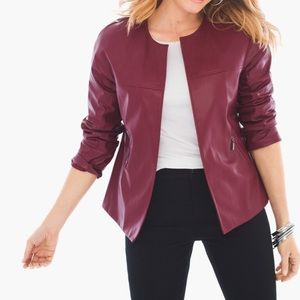CHICO'S Swing Faux Leather Open Front Jacket